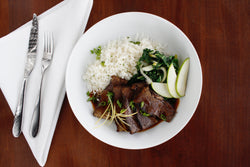Apple Braised Short Ribs with Cilantro Basmati Rice and Sauteed Bok Choy