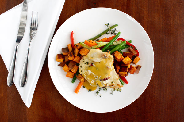 Apple and Gruyere Stuffed Chicken with Roasted Sweet Potatoes and Steamed Vegetables (gf) (Delivered Sunday, March 18)