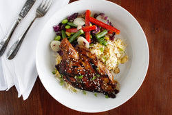 Asian BBQ Chicken with Almond Fried Rice and Edamame Stir Fry