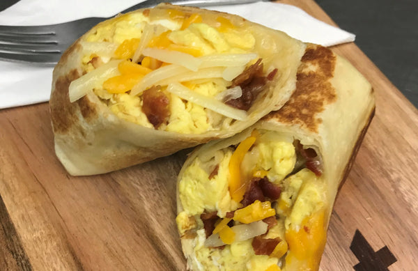 Bacon and Cheddar Breakfast Burritos
