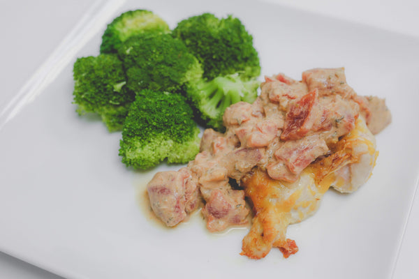 Keto/Low Carb Bacon & Cheddar Stuffed Chicken Smothered with Creamy Tomato Sauce with Blanched Broccoli