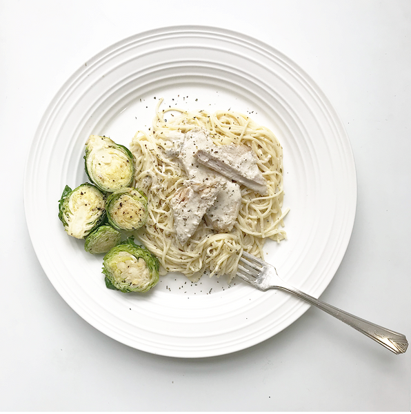 Basil Pork with Creamy Angel Hair Pasta
