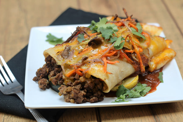 Beef and Roasted Veggie Enchiladas