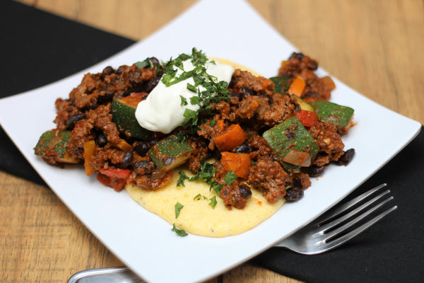 Beef and Veggie Chili over Cheesy Polenta (Fresh Frozen)