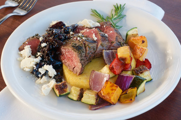 Bistro Steak with Fig Salsa with Polenta Cake, Roasted Vegetables