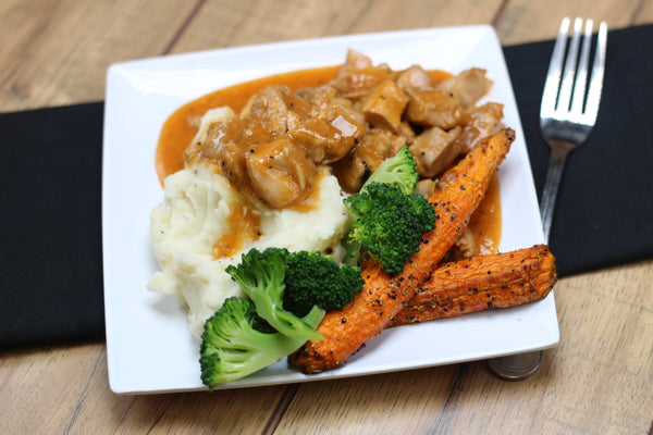 Bourbon Chicken over Creamy Mash