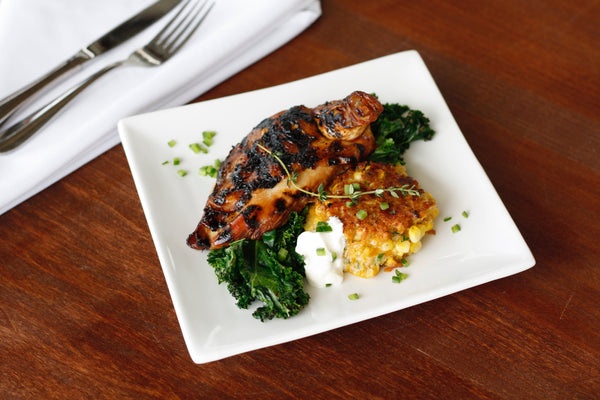 Bourbon Molasses BBQ Chicken with Cheddar Corn Cakes and Grilled Kale