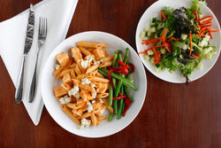 Buffalo Chicken Mac and Cheese with Green Beans with Roasted Red Peppers and Mixed Green Salad with Ranch Dressing