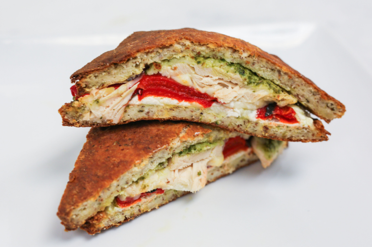 Chicken & Whipped Goat Cheese Pesto Panini (Traditional or Keto)