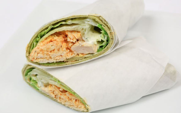 Buffalo Chicken Wrap with Carrot Sticks