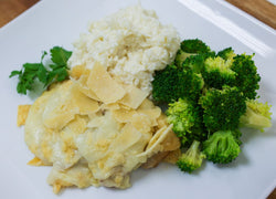 Parmesan Cream Smothered Chicken with Whipped Herb Cauliflower & Broccoli