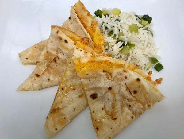 Kids Cheesy Quesadilla with Pinneapple Rice & Peas