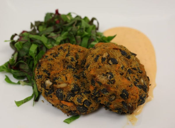 Vegan Sweet Potato Black Bean Burgers with Vegan Chipotle Aioli and Roasted Greens