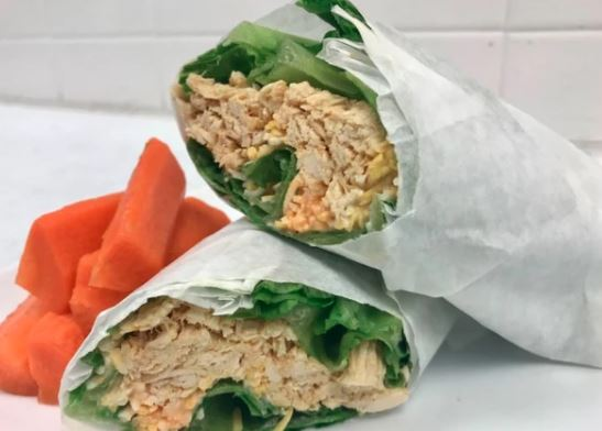 Buffalo Chicken Wrap with Carrot Sticks (Traditional or Keto)