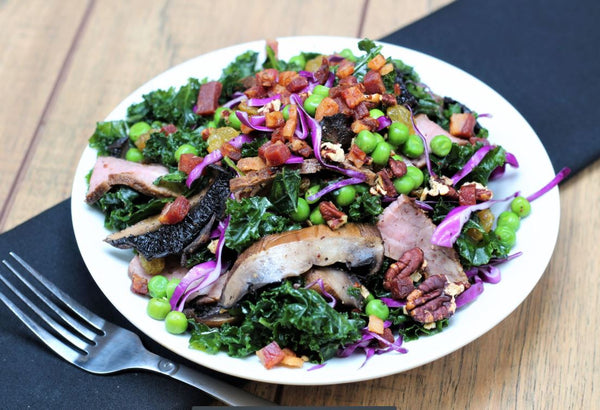 *NEW* Massaged Kale Salad with Steak and Portobello (Paleo)