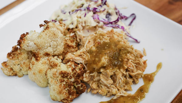 Keto/Low Carb Mild Green Chili Braised Pork Loin with Roasted Cauliflower and Poblano Cabbage Slaw