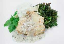"Oven ""Fried"" Chicken with Parmesan Gravy, Whipped Potatoes, & Garlicky Kale"