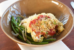 Cauliflower Parmesan with Risotto and Roasted Haricot Verts