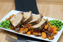 Paleo Coriander and Fennel Rubbed Pork Loin with Sweet Potato Hash