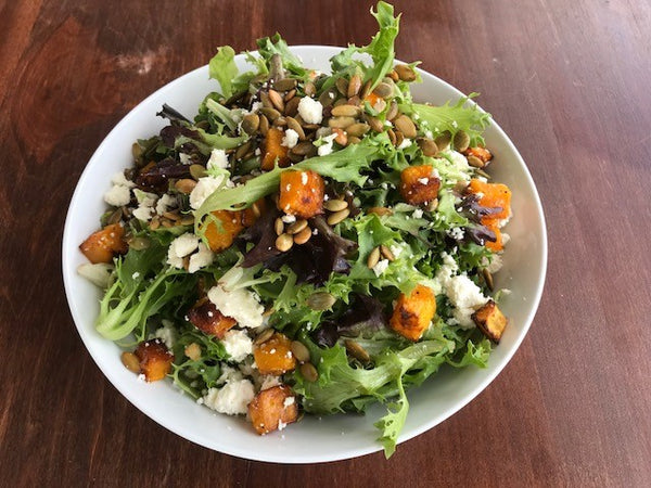 Mixed Green Salad with Roasted Butternut Squash