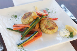Fish Cakes with Lime Remoulade with Sweet Potato Wedges and Julienne Vegetables