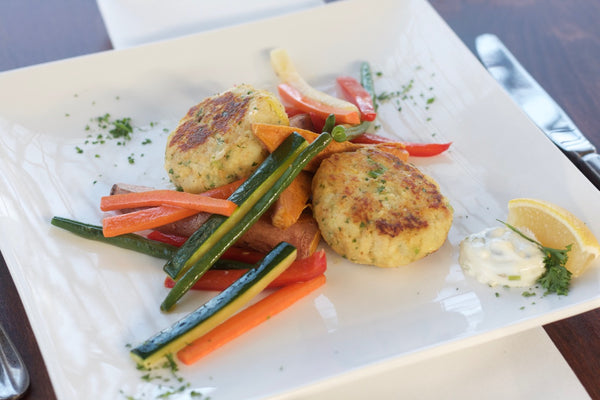 Fish Cakes with Sweet Potato Wedges and Julienne Vegetables