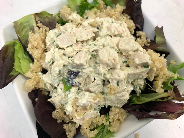 Classic Herb Chicken Salad over White Pearl Quinoa & Mixed Tender Leafy Greens
