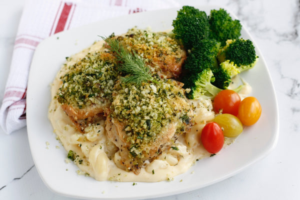 Herb Crusted Chicken with Cheddar Mac