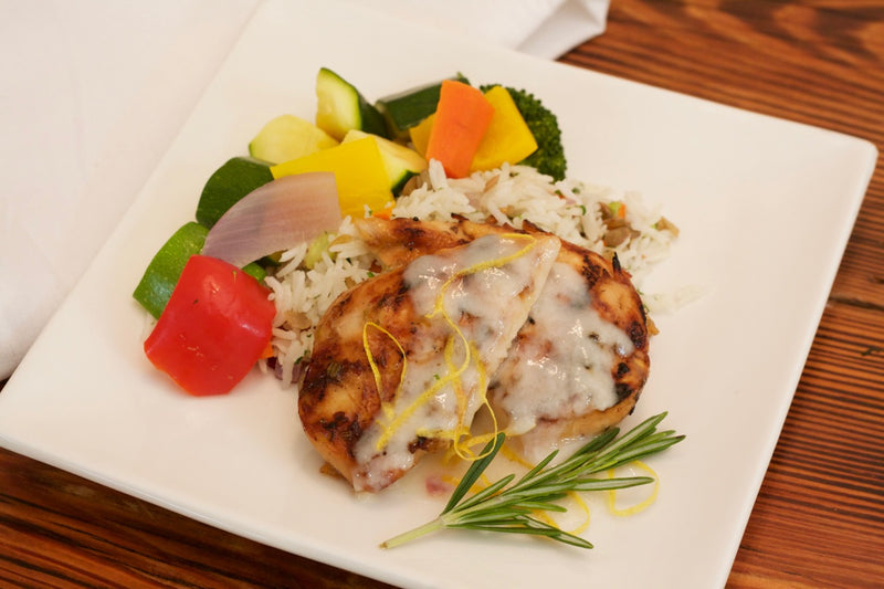 Honey Rosemary Chicken with Chutney Yogurt Sauce with Basmati and Lentil Pilaf and Steamed Vegetables