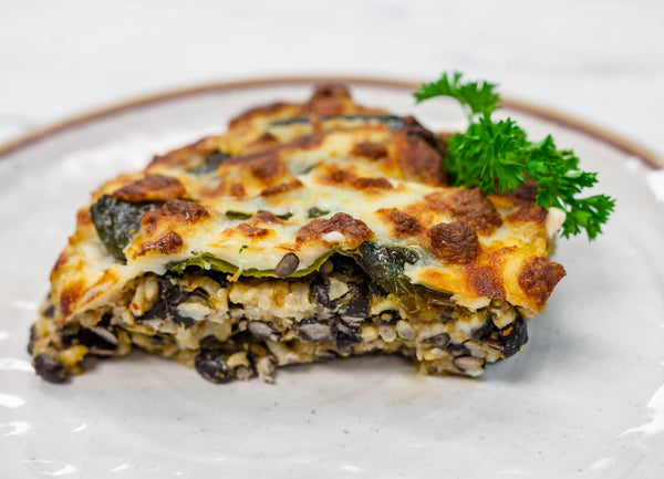 Black Bean Chili Rellenos Bake with Queso Fresca for Two