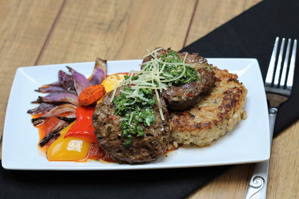 Italian Double Burger with Barley Risotto Cake