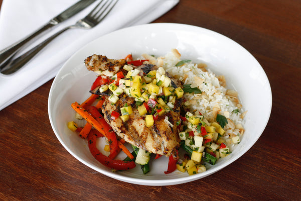 Jerk Chicken with Mango Salsa with Coconut Rice and Julienne Vegetables