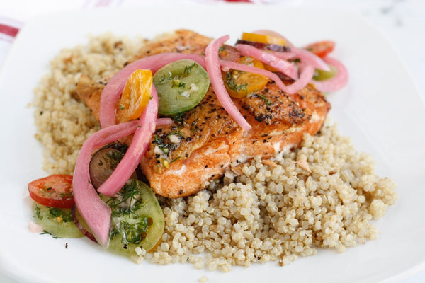 Lemon Dill Seared Salmon with Quinoa