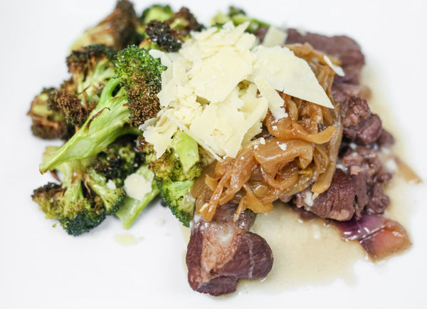 Keto Braised Boneless Beef Short Rib, Roasted Broccoli, Aged Parmesan Cheese, Mushroom Pan Sauce