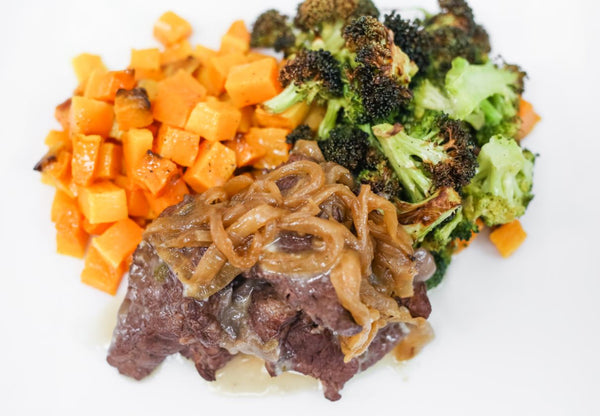 Braised Boneless Beef Short Rib, Roasted Butternut Squash & Shallots, Roasted Broccoli, Mushroom Pan Sauce (Paleo/W30)
