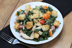 Massaged Kale Caesar Salad with Chicken
