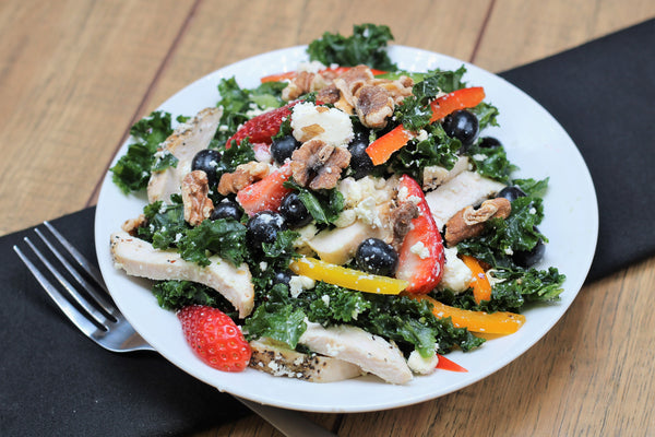 Massaged Kale and Berry Salad with Chicken