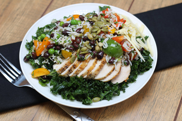 Mexican Rice and Beans Kale Salad with Chicken