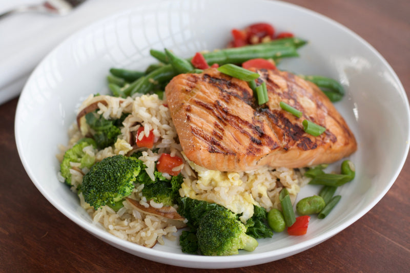 Miso Ginger Salmon, Stir Fried Edamame Rice, Green Beans with Roasted Red Peppers