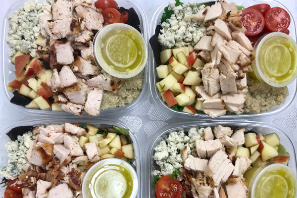 Harvest Cobb Salad with Roasted Chicken, Apple, Cherry Tomato, Blue Cheese, Bacon, White Pearl Quinoa with Honey Citrus Lime Vinaigrette