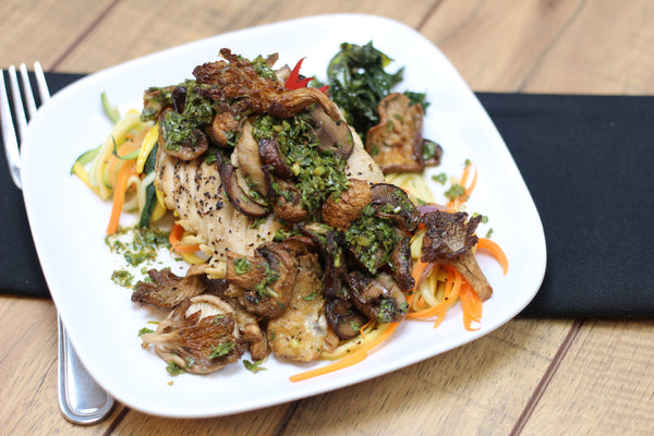 Paleo/W30 Chimichurri Tossed Mushrooms with Chicken