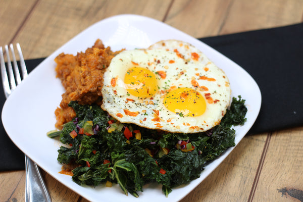 P/W30 Creamy Sweet Potato Hash with Kale and Sunny Eggs