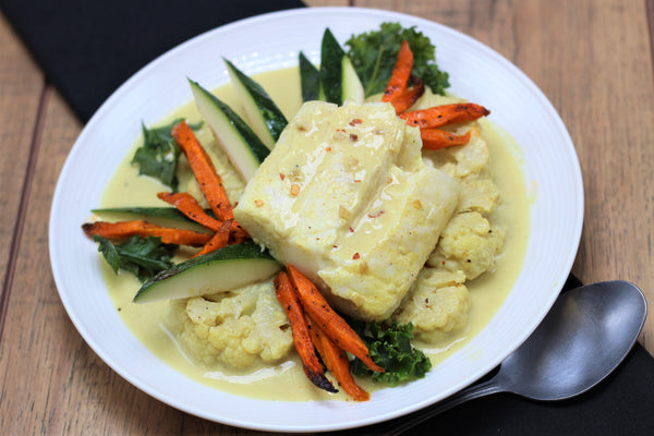Paleo Cod with Curry Poached Cauliflower