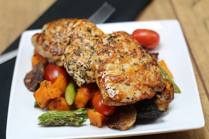 Paleo-W30 Rosemary Infused Chicken Over Roasted Veggie Jumble