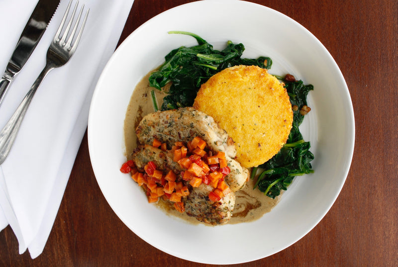Pecan and Cornmeal Crusted Chicken with Pepperjack Grits and Sauteed Greens