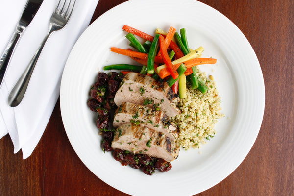 Pork Tenderloin with Summer Cherry Salsa with Herbed Quinoa Pilaf and Julienne Vegetables