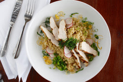 Quinoa Bowl with Grilled Chicken and Snap Peas