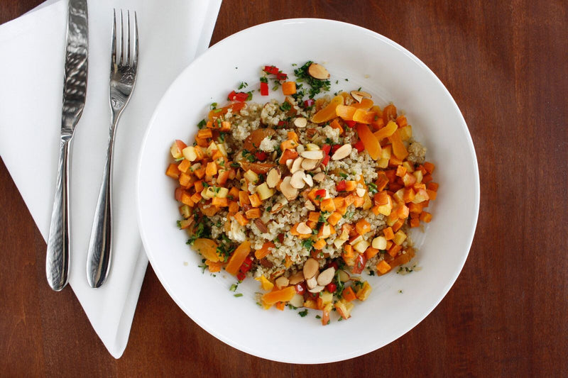 Quinoa Bowl with Sweet Potatoes and Apple Vinaigrette