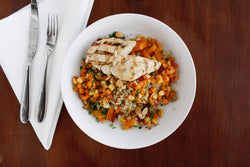 Quinoa Bowl with Sweet Potatoes and Grilled Chicken