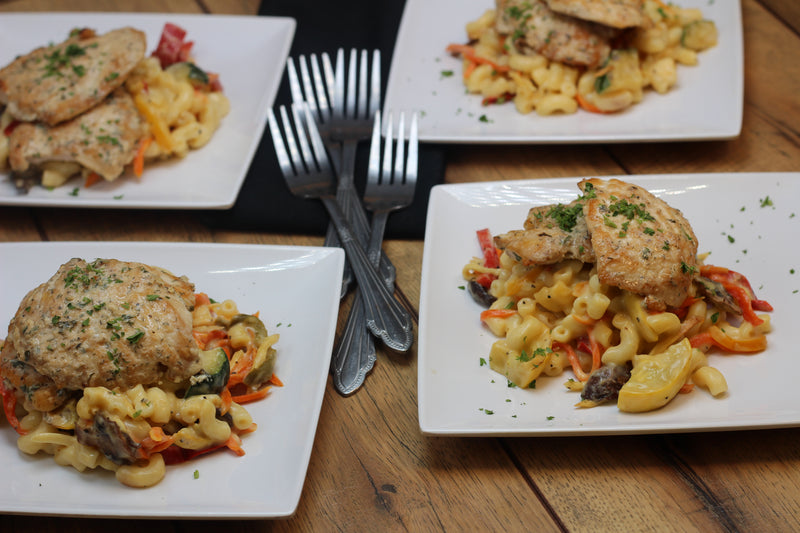 Ranchy Chicken with Roasted Veggie Mac and Cheese